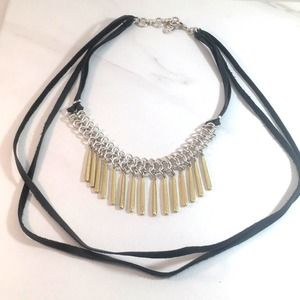 Lucky Brand leather choker necklace EUC